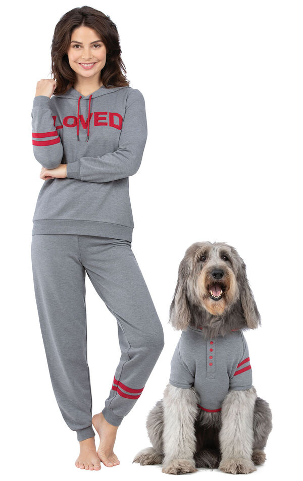 Models wearing I Love Mom and Loved Matching Pet and Owner PJs image number 0