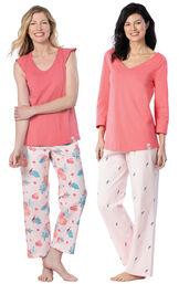Models wearing Margaritaville Easy Island Capris Pajamas - Pink and Margaritaville Tropical Dreams Pajamas - Pink. image number 0