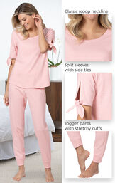 Close-ups of the features of Blush Pink Peekaboo Pajamas such as the classic scoop neckline, split sleeves with side tie and jogger pants with stretchy cuffs image number 3