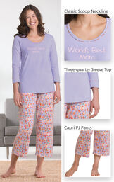World's Best Mom Pajamas include a classic scoop neckline, three-quarter sleeve top and capri PJ pants image number 3