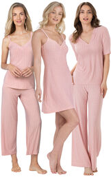 Models wearing Naturally Nude Capri Pajamas - Pink, Naturally Nude Pajamas - Pink and Naturally Nude Chemise - Pink.