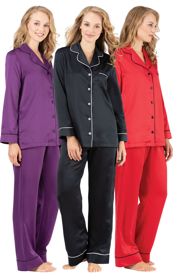 Models wearing Satin Pajamas with Piping - Purple, Satin Pajamas with Piping - Red and Satin Pajamas with Piping - Black. image number 0