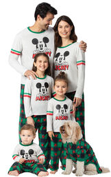 Family wearing Red and Green Mickey Mouse Holiday Pajamas image number 0