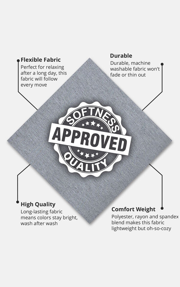 Gray fabric swatch with the following copy: Perfect for relaxing after a long day. Machine washable fabric won't fade or thin. Long-lasting fabric means colors stay bright. Polyester, rayon and spandex blend makes this fabric lightweight but cozy image number 4