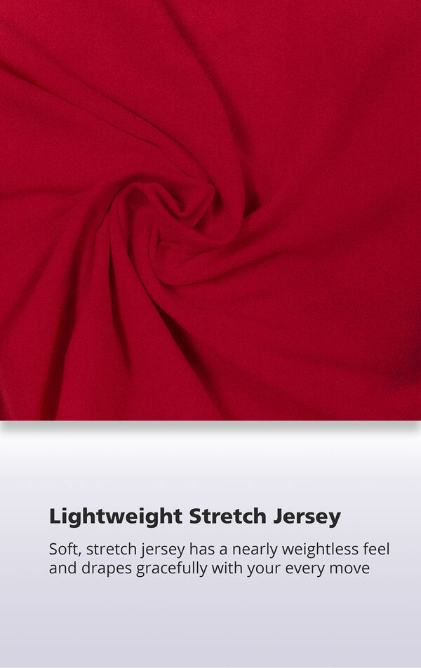 Red Nudies fabric with the following copy: Soft stretch jersey has a nearly weightless feel and drapes gracefully with every move image number 4