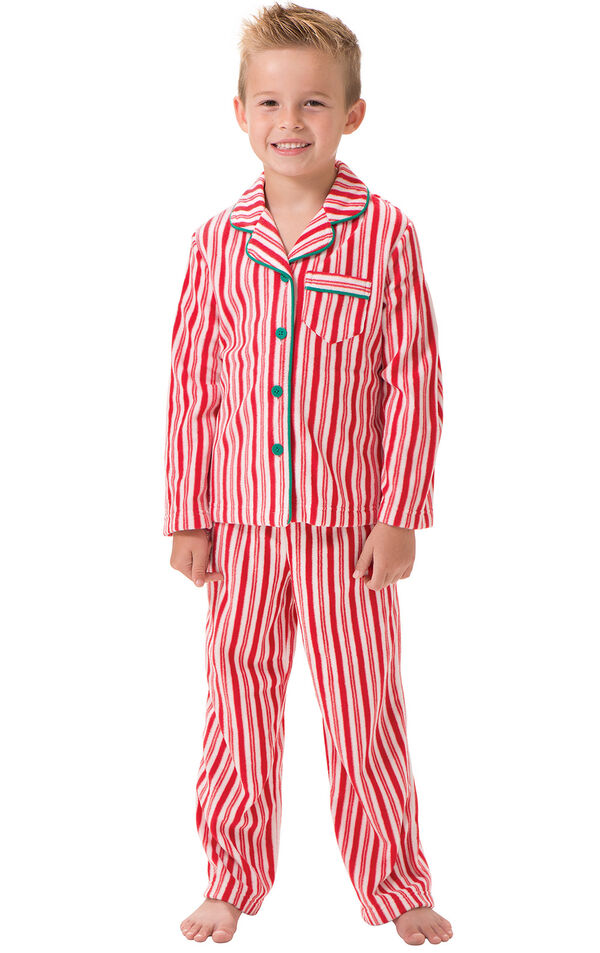 Model wearing Candy Cane Stripe Fleece PJ for Kids image number 0