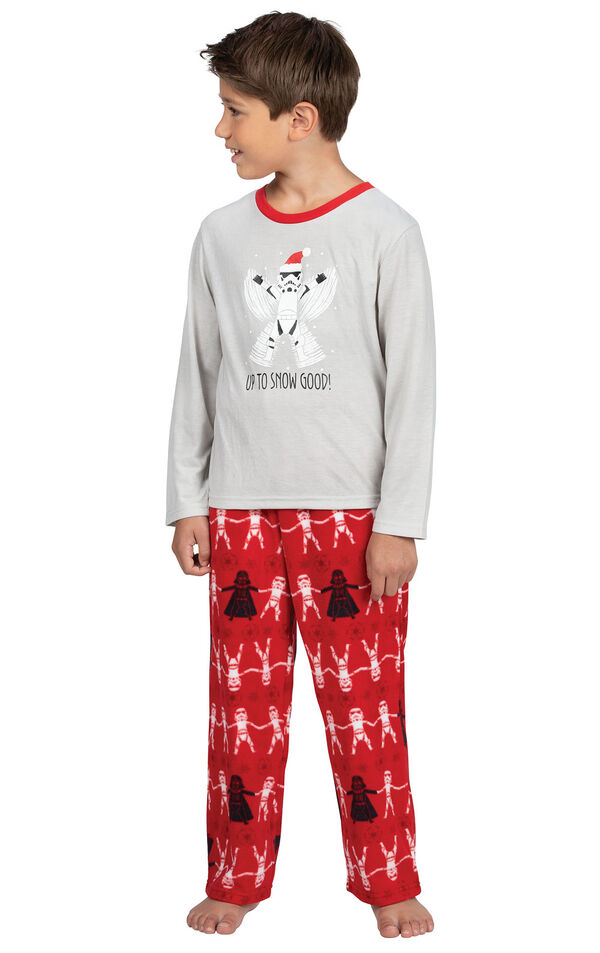 Model wearing Red Star Wars PJ for Kids image number 0