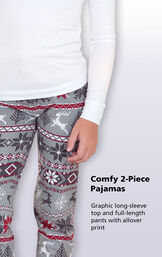 Comfy 2-Piece Pajamas. Graphic long-sleeve top and full=length pants with allover print image number 2