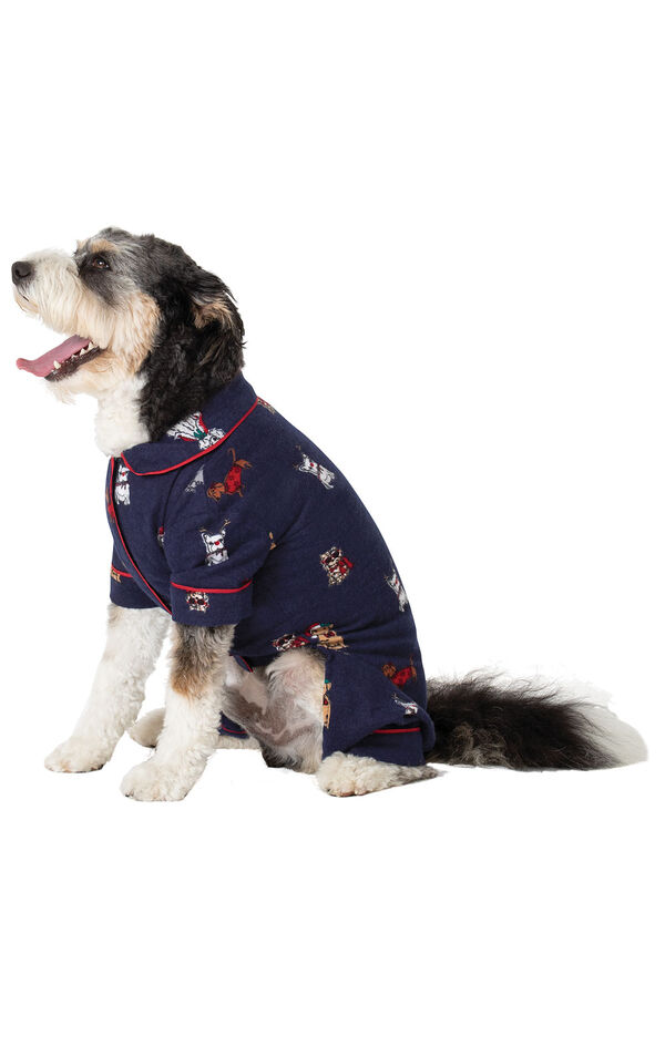 Christmas Dogs Flannel Dog Pajamas - Navy - dog facing to the side image number 2
