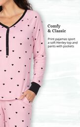 Addison Meadow Whisper Knit Pajamas Henley PJs image number 2