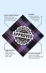 Purple and Black plaid fabric swatch with the following copy: Warm flannel is supremely soft. Machine washable flannel won't fade. 100% cotton means colors stay bright. Mid-weight flannel is breathable. image number 4