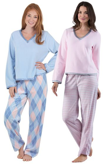 Snuggle Fleece Pink Stripe & Argyle Pajama Gift Set