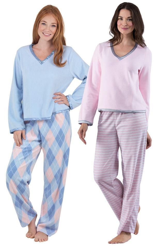 Models wearing Snuggle Fleece Pajamas - Pink Stripe and Snuggle Fleece Argyle Pajamas. image number 0