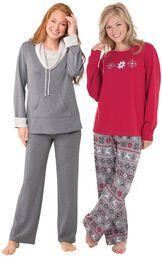 Models wearing World's Softest Pajamas - Charcoal and Nordic Pajamas.