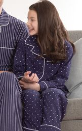 Girls sitting on couch wearing  Navy Blue and White Polka Dot Button-Front PJs image number 2
