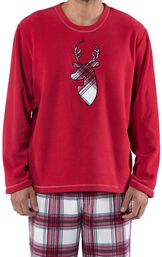 Close-up of Red Fleece Top with Deer Applique with Fireside Fleece Men's Pajamas image number 3