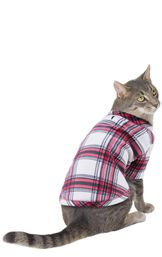 Model wearing Red and White Plaid Fleece PJ - Pet image number 0
