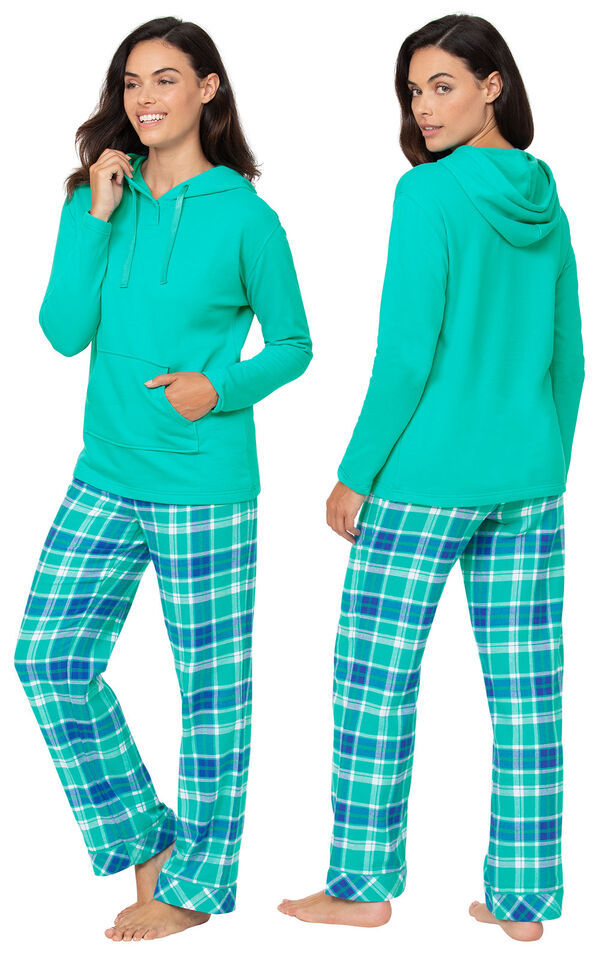 Wintergreen Plaid Hooded Women's Pajamas side and back views image number 1