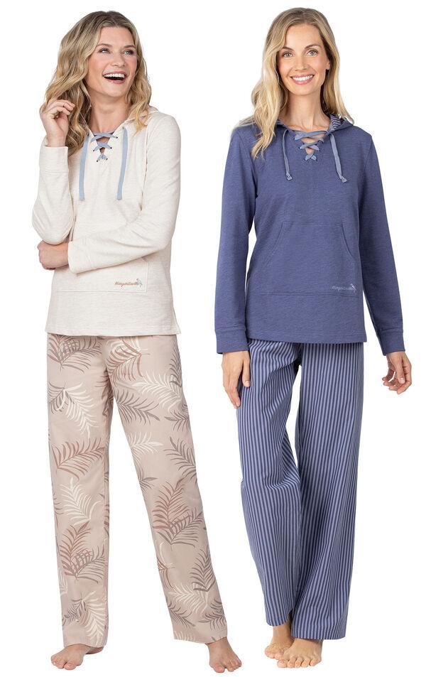 Models wearing Margaritaville Cool Nights Hoodie Pajamas - Sand and Margaritaville Cool Nights Hoodie Pajamas - Navy. image number 0