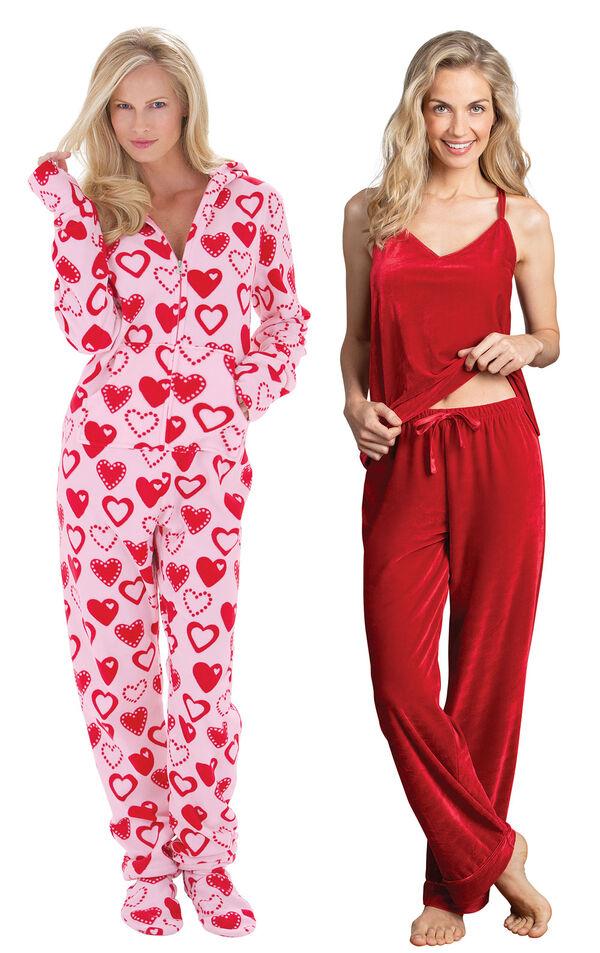 Models wearing Hoodie-Footie - Sweetheart Snuggle Fleece and Velour Cami Pajamas - Ruby. image number 0