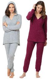 Deep Fuchsia and Blue Cozy Escape Pajama Gift Set image number 0