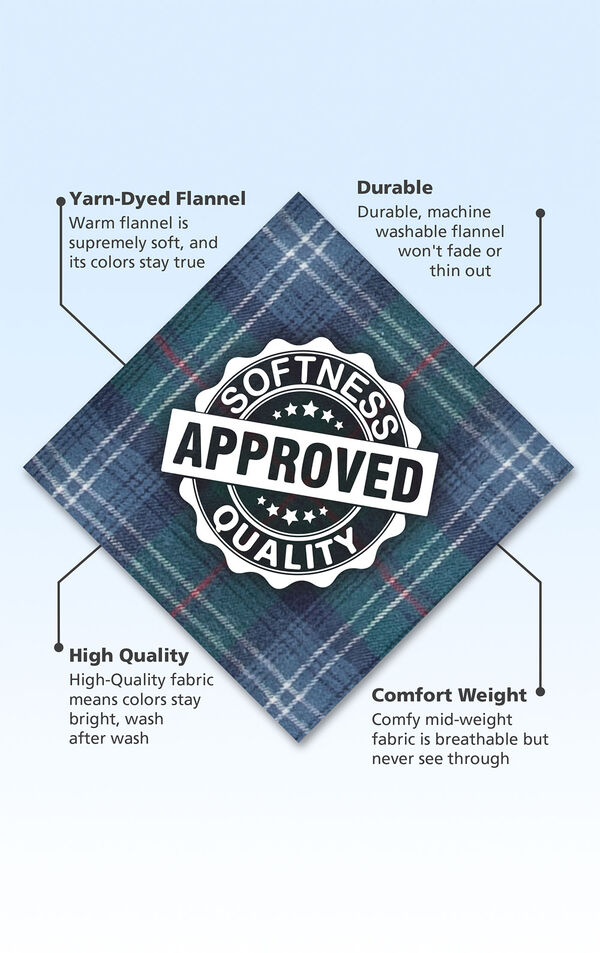 Green and Blue Heritage Plaid Swatch with the following copy: Yarn-dyed flannel is supremely soft. Machine washable flannel won't fade or thin out. High-quality fabric means colors stay bright. Comfy mid-weight fabric is breathable but never see through image number 6