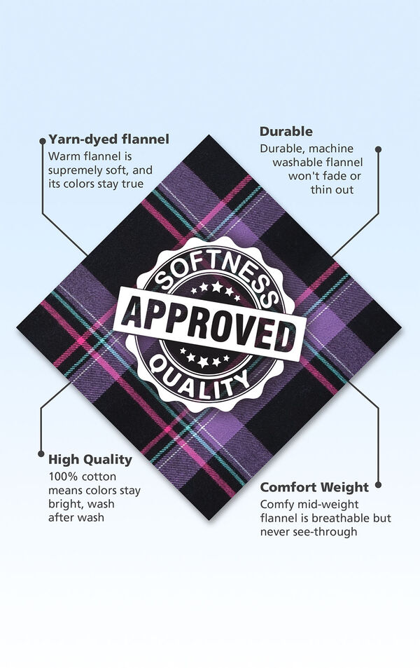 Black and Purple plaid fabric swatch with the following copy: Warm flannel is supremely soft. Machine washable flannel won't fade. 100% cotton means colors stay bright. Mid-weight flannel is breathable. image number 4