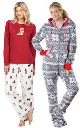 Models wearing Christmas Dog Flannel Pajamas - Red and Hoodie-Footie - Nordic Fleece.