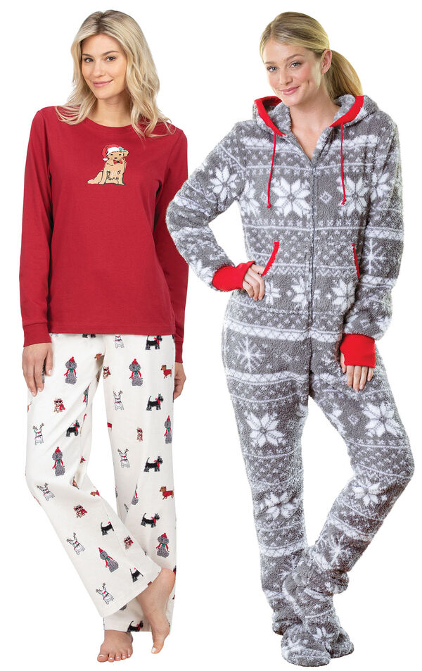 Models wearing Christmas Dog Flannel Pajamas - Red and Hoodie-Footie - Nordic Fleece. image number 0