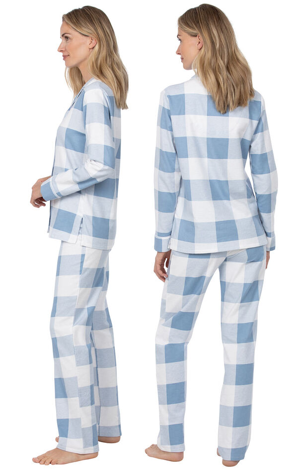 Model wearing Blue Check Flannel Button-Front PJ for Women, facing away from the camera and then to the side image number 1