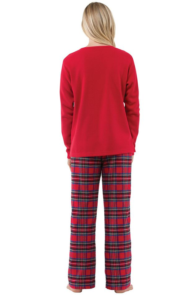 Model wearing Red Classic Plaid Thermal Top PJ with White Heart for Women, facing away from the camera image number 1