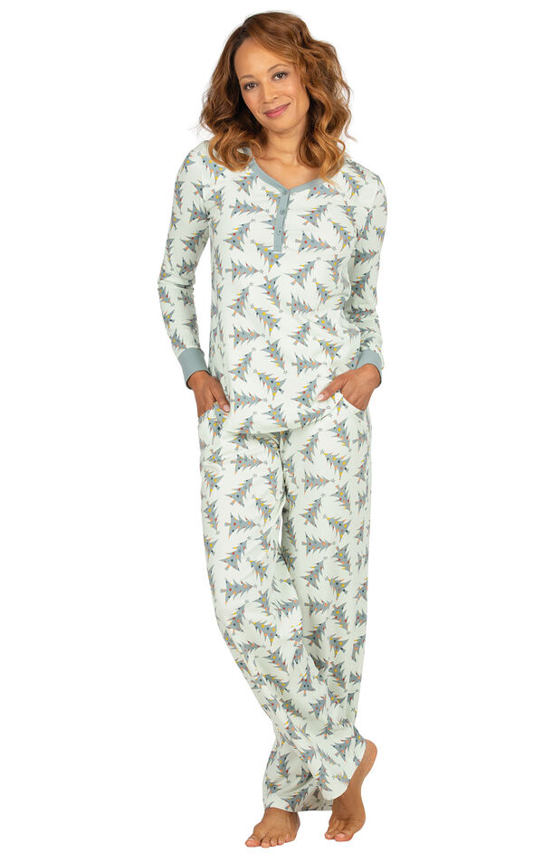 Model wearing Green Pine Tree PJ for Women image number 0