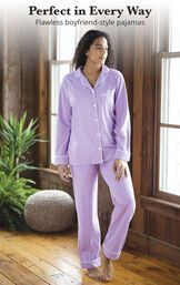 Model wearing Purple Pin Dot Button-Front PJ for Women image number 3