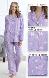 Close up of Purrfect Flannel Boyfriend Pajamas - Purple Details which include a classic notched collar, versatile button-up design and easy-access hip pockets image number 3