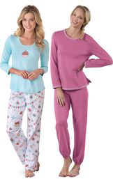 Models wearing Happy Birthday Pajamas and World's Softest Jogger Pajamas - Raspberry.