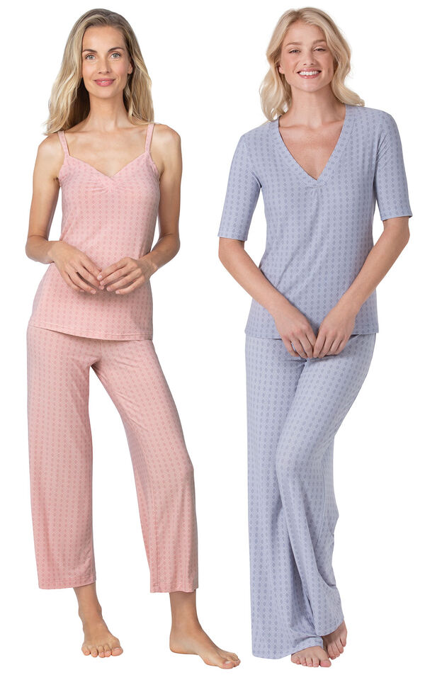 Models wearing Naturally Nude Capri Pajamas - Pink and Naturally Nude Pajamas - Blue. image number 0