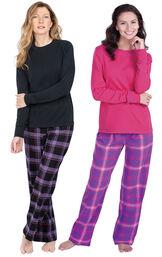 Models wearing Blackberry Plaid Jersey-Top Flannel Pajamas and Raspberry Plaid Jersey-Top Flannel Pajamas. image number 0