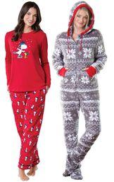 Models wearing Snoopy and Woodstock Pajamas and Hoodie-Footie - Nordic Fleece.