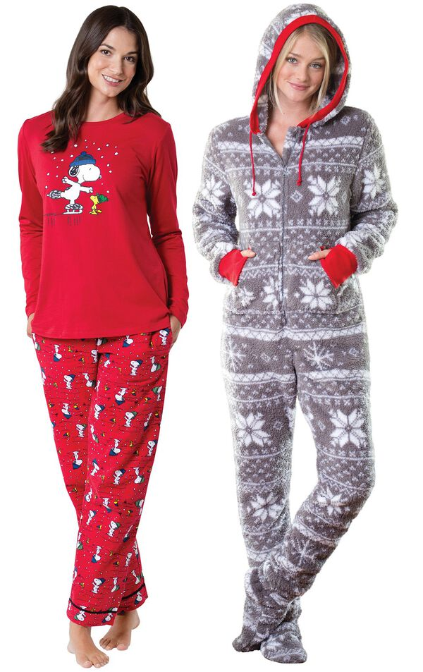 Models wearing Snoopy and Woodstock Pajamas and Hoodie-Footie - Nordic Fleece. image number 0