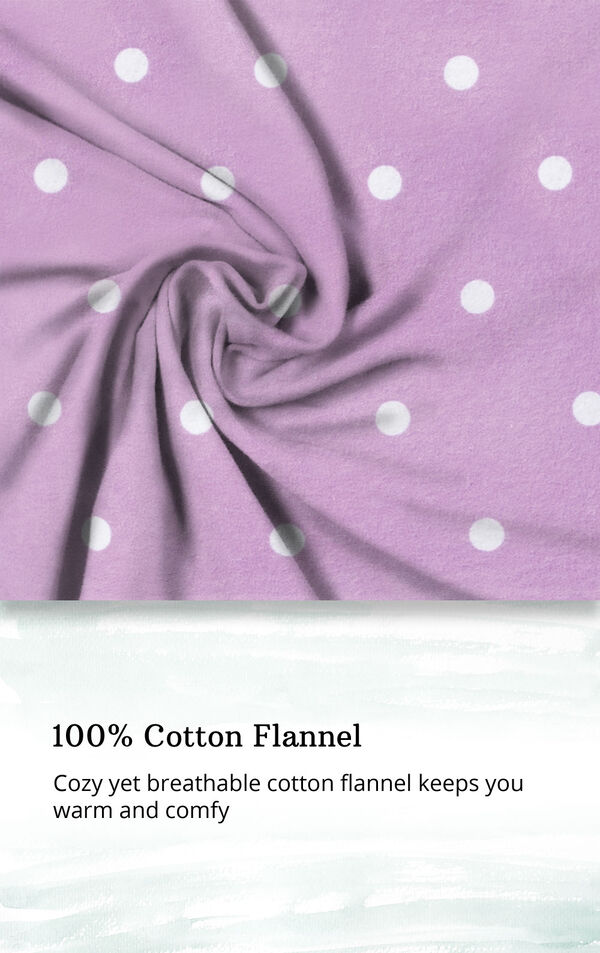 Lavender Dot Flannel Button-Front PJ for Women image number 4