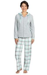 Model wearing Aqua Plaid Fleece Hoodie PJ for Women image number 0