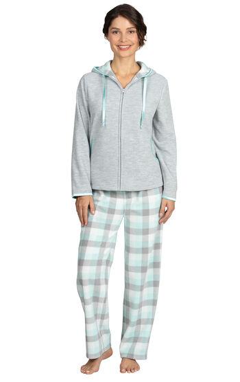 Snuggle Fleece Hoodie Pajamas - Aqua