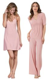 Models wearing Naturally Nude Chemise - Pink and Naturally Nude Pajamas - Pink.