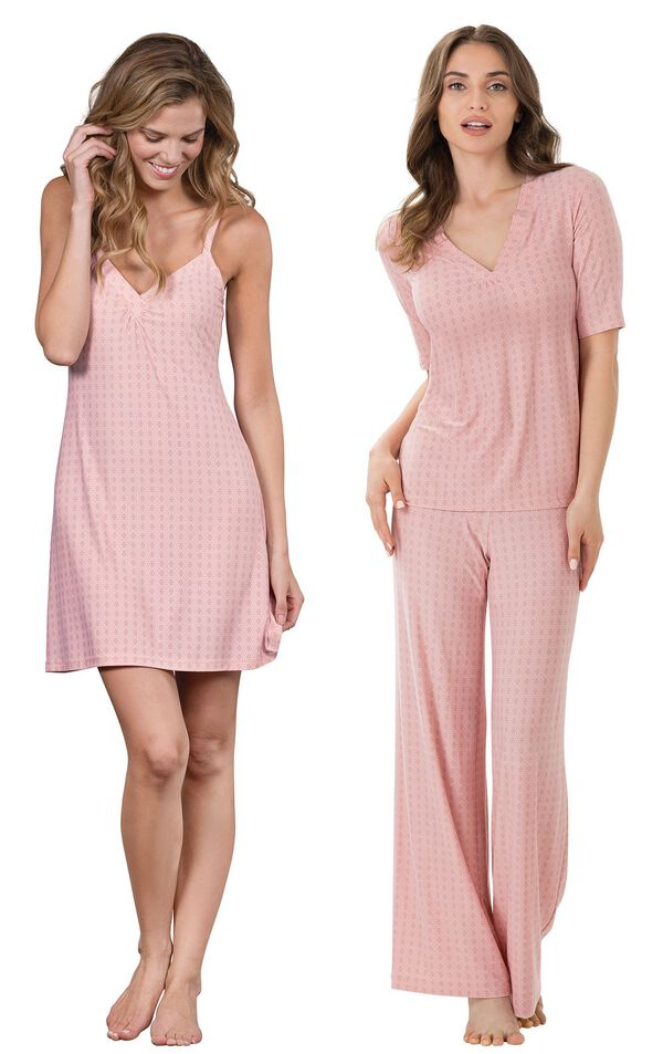 Models wearing Naturally Nude Chemise - Pink and Naturally Nude Pajamas - Pink. image number 0