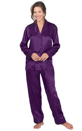 Model wearing Purple Satin Button-Front Pajamas for Women image number 1