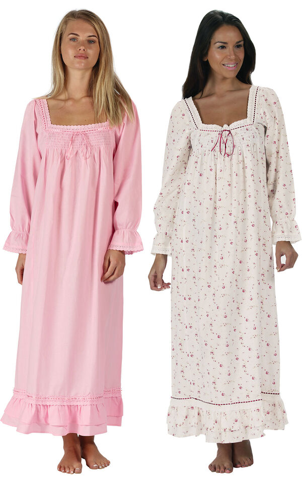 Models wearing Martha Nightgown - Pink and Martha Nightgown - Vintage Rose image number 0
