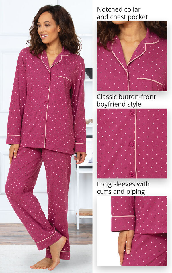 Classic Polka-Dot Boyfriend Pajamas feature a notched collar and chest pocket, classic button-front boyfriend style and long sleeves with cuffs and piping image number 3