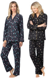 Addison Meadow|PajamaGram Bright Trees and Champagne Flannel Boyfriend PJs image number 0