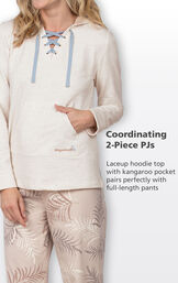 Coordinating 2-Piece PJs - lace up hoodie top with kangaroo pocket pairs perfectly with full-length pants image number 4