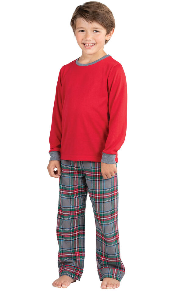 Model wearing Gray Plaid PJ for Kids image number 0